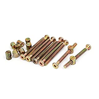 Cikuso M6x65mm 47mm lange Gewinde Innensechskantschluessel Buchse Moebel mit Zylindermutter 10 Set
