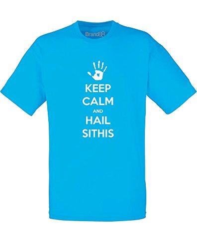 Brand88 - Brand88 - Keep Calm and Hail Sithis, Mann Gedruckt T-Shirt Azurblau/Weiß