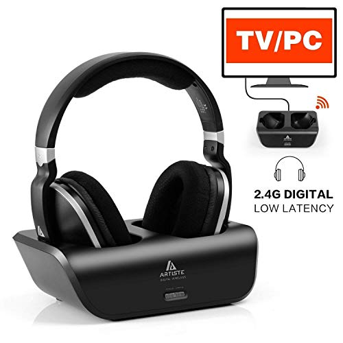 Cuffie Wireless TV Trasmissione Digitale - Headphones Over-Ear Artiste UHF/RF 2.4GHz con Base di Ricarica e Trasmissione Portata Wireless Circa 30 metri, Nero