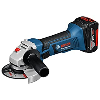 Bosch Professional Akku Winkelschleifer GWS 18-125 V-LI (2x 4,0 Ah Akku, Ladegerät, Scheiben-Ø: 125 mm, L-Boxx, 18 Volt)