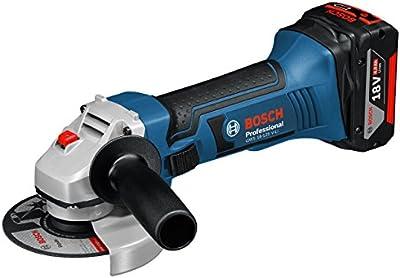 Bosch GWS 18-125 V-LI Professional - Amoladora (Ión de litio, 18 V, 4 Ah, 2.3 kg) Negro, Azul, Plata