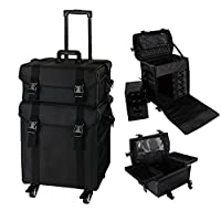 HST Extra Large 2 in 1 Oxford Fabric Cosmetic Trolley On Exchangeable Universal Wheels Beauty Case Vanity Box Professional Makeup Artist Train Case Trolley, Black