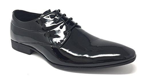 ng Schuhe Herren Hochzeitsschuhe schwarz Lack Leder Innenfutter (42) (Smoking Schuhe)