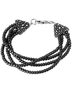 King Baby 925Sterling Silber Damen Multi-Stränge Hämatitperlen Stachelrochen Cone Schließe Armband von Länge...