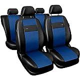 Saferide| Universal Set Kunstleder Blau Sitzbezüge Sitzbezug für Auto Sitzschoner Set Schonbezüge Autositz Autositzbezüge Sitzauflagen Sitzschutz PKW X-Line