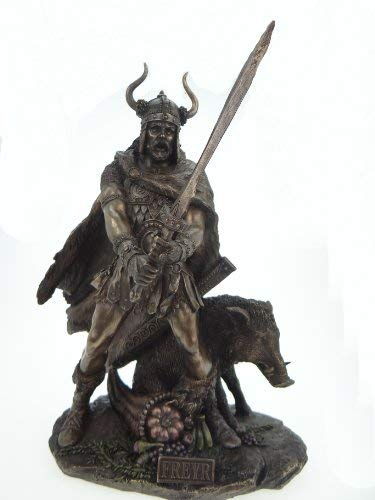 Unbekannt Frey germanischer Dios con Verraco Bronceado 38cm Freyr Freya Figura Odin Escultura