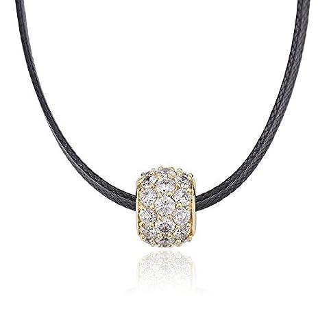 XUPING Noir Corde ras du cou Colliers ras du cou Pendentif Perle Colliers pour femmes filles (14K Gold Color)