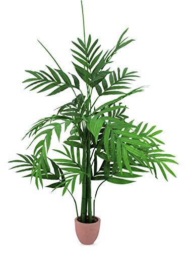 artplants Set 'Kunstpflanze Areca + Gratis UV Schutz Spray' - Kunstpalme Nikki, wetterfest, grün, 230 cm
