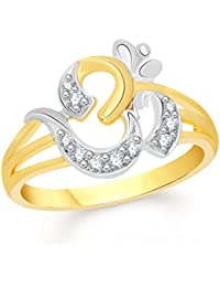 VK Jewels The Om Gold and Rhodium Plated Alloy CZ American Diamond Ring for Women [VKFR2407GA]