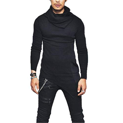 Herren Rollkragen Asymmetrisch Langarmshirt Modernas Tee Mode Hemd Lässig Oberteile Slim Fit Pullover Herbst Winter Sweatshirt Shirt Tops (Color : Schwarz, Size : 2XL)