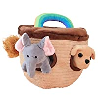 Aideal Plush Animal House Carrier with Cute Stuffed Animals Toy Set - Tiger, Elephant, Dog, Horse,Great Gift for Baby,Toddlers