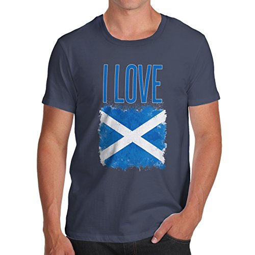 Herren I Love Scotland T-Shirt Marineblau