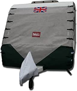 "Caravan Front Towing Cover Protector - Lunar (Grey with green chevron, 84"" - 7ft 2"" wide)"