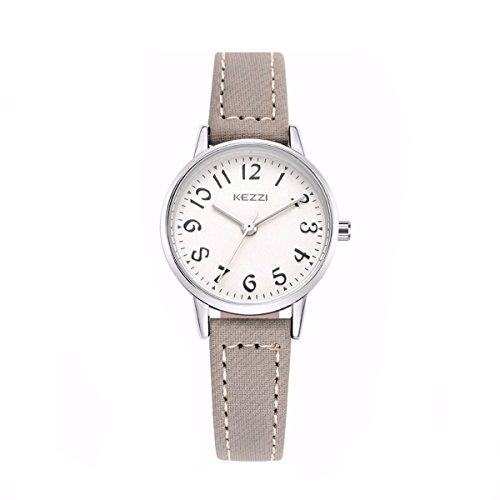 Mode Einfach Damen Schüler Lederband Leserlich Quarz Armbanduhr Grau