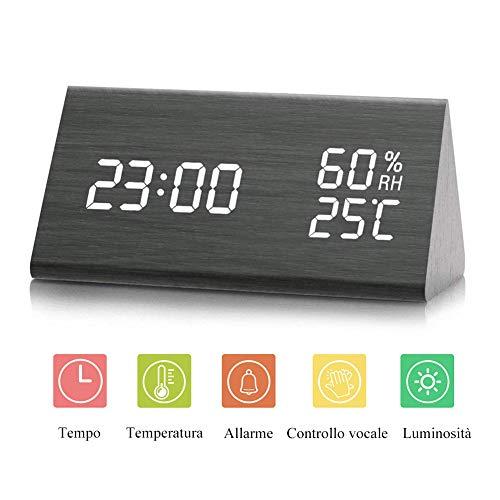JJ&FF-GG Sveglia Legno Orologio Digitale LED Allarme in Legno Orologio da Tavolo Digitale con Data e Temperatura Controllo vocale