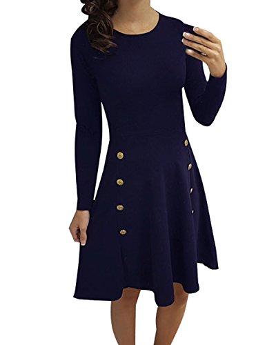 ACHIOOWA Donna Vestito Maniche Lunghe Collo Rotondo Autunno Abiti Linea A Aderente Casual Eleganti Mini Dress Blu L