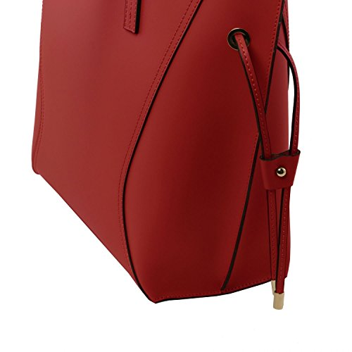 Tuscany Leather Nemesi - Borsa shopper in pelle Ruga - TL141625 (Nero) Rosso