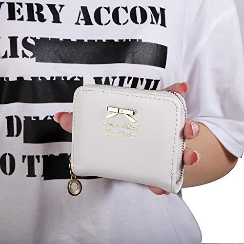 Lady Münze Tasche Schleife Null Brieftasche 11x9cm weiß - Weiße Schleife Münze