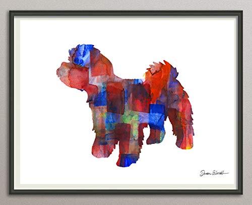 maltipoo Rasse Hunde Hunderasse Fine Art Print Aquarell Silhouette Profil Poster Kunstdruck Plakat modern ungerahmt DIN A 4 Deko Wand Bild