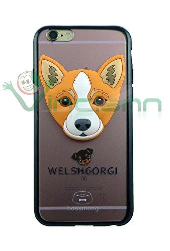 Pellicola+Custodia cover Testa cane 3D per iPhone 6 4.7 6S case TPU Welsh corgi