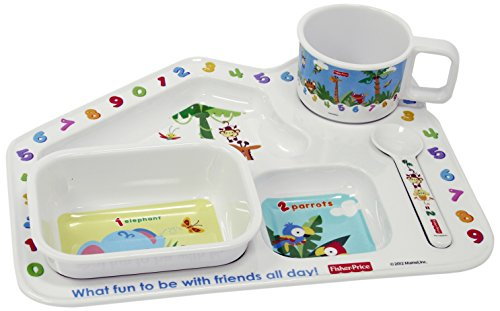 Fisher Price Learning 1,2,3 House Shaped Kids Dinner Gift Set, 4-Pieces