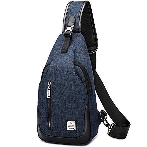 HASAGEI Brusttasche Sling Bag Schultertasche für Damen und Herren Crossbody Bag Umhängetasche Rucksack (Blau, S)