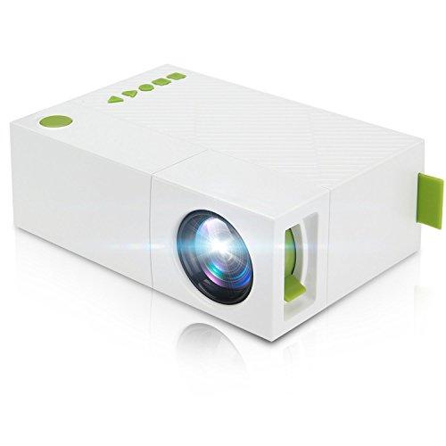 Mini Beamer,Deeplee Portable LED LCD Projektor Heimkino Theater mit PC Laptop USB / SD / AV / HDMI Eingang Pocket Projektor für Video Film Spiel LCD Beamer - weiß