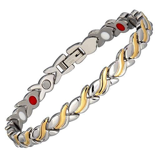 WJMSS Damen-Magnetarmband Silber Gold Verdrehtes Edelstahl-Manschetten-Armband 4-in-1-Metall-Windelement gegen Arthritis-Schmerz-Juwelen