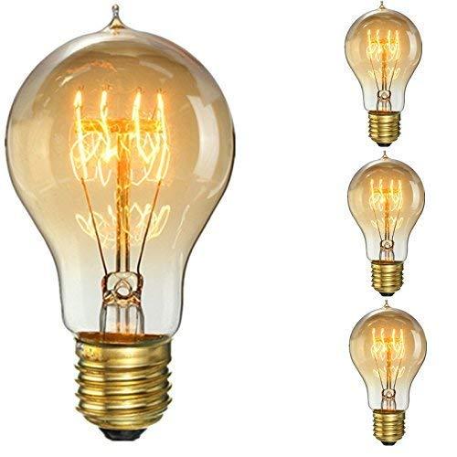KINGSO 60W E27 Edison Vintage Lampe Antike Glühbirne Ideal für Nostalgie und Retro Beleuchtung 220V 3 Pack (Antike Lampe Firma)