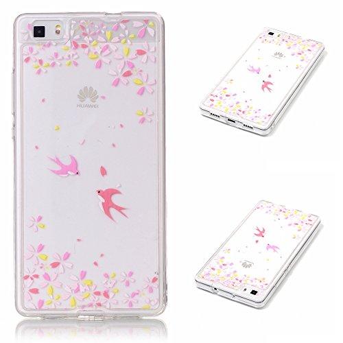 Qiaogle Téléphone Coque - Soft TPU Silicone Housse Coque Etui Case Cover pour Apple iPhone 5 / 5G / 5S / 5SE (4.0 Pouce) - XY02 / Blanc Pissenlit XY06 / Hirondelles