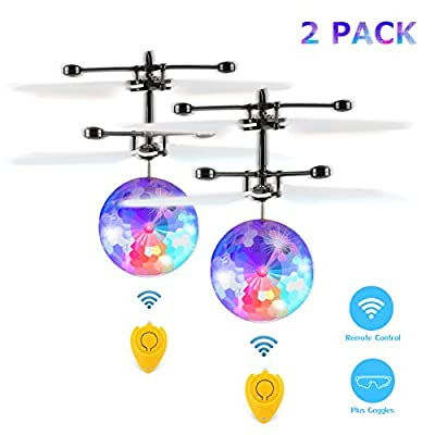 Fansteck RC Flying Ball, Flying Kid Toy with Protective Goggles & Remote Control, Infrared Induction Helicopter Ball Drone with Colorful Shinning LED Lights, Ideal Gift for Boys Girls Kids Children