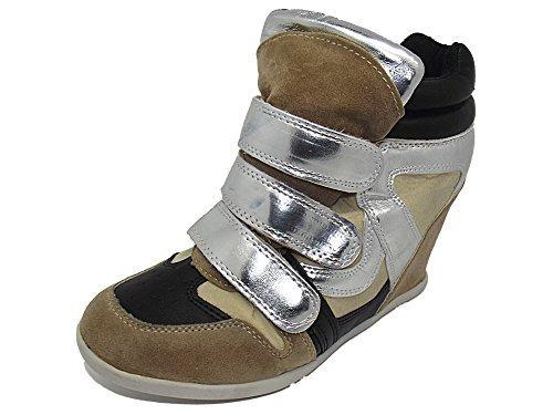 Ex-Store , Baskets mode pour femme Beige / Black / Silver