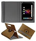 Acm Designer Rotating Leather Flip Case for Alcatel Pop 4 Cover Stand Golden