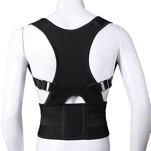 Freebily Chaleco Corrector de Postura Hombros Espalda para Hombre Mujer Ajustable Cinturón para para Aliviar el Dolor Soporte de Columna Vertebral Negro XL