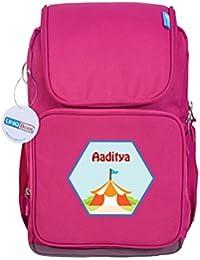 UniQBees Personalised School Bag With Name (Smart Kids Large School Backpack-Pink-Wigwam)