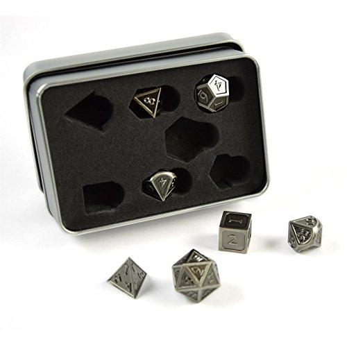 Würfel Rollen (shibby 7 polyedrische Metall-Würfel für Rollen- und Tabletopspiele in Steampunk Silber-Optik inkl. Aufbewahrungsbox)