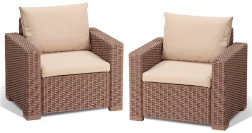Allibert Lounge Sessel California 2er Set mit Kissen, cappuccino/sand
