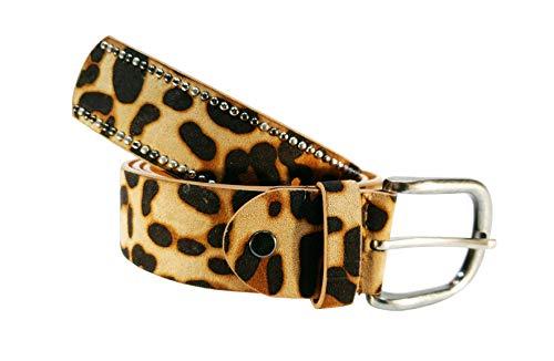Cinturon tachuelas mujer leopardo cuero piel animal print (Amarillo, 85cm)
