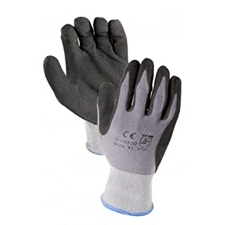 12 pairs, Mirco-Foam Nitrile Coated Gloves- Premium Gray 15 Gauge Nylon/Lycra Black MxFlex Foam Palm Sandy Finish (Large) by Azusa Safety