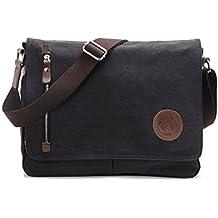 Super moderno unisex vintage canvas bolso bolso bandolera Messenger Bag para trabajo Uni viajes deportes mochila Bolsa de hombro portátil, hombre, negro