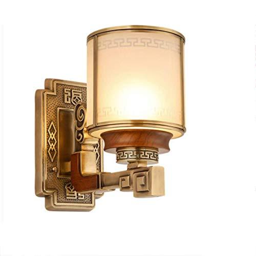BinLZ Kupfer - Schlafzimmer Studie Wandlampe - Retro Chinesische Nachttischlampe - Chinesischer Stil - Mahagoni-Lampen - Stil Mahagoni Schreibtisch