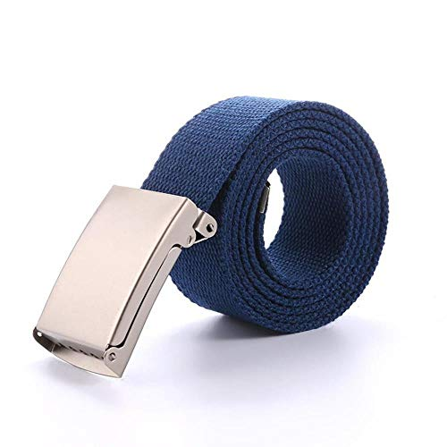 Belt Men Canvas Automatic Metal Buckle Canvas Casual Men Nylon Belt Outdoor Cummerbunds Long Para Hombre Big Size     , Navy Blue,120Cm Navy Cummerbund