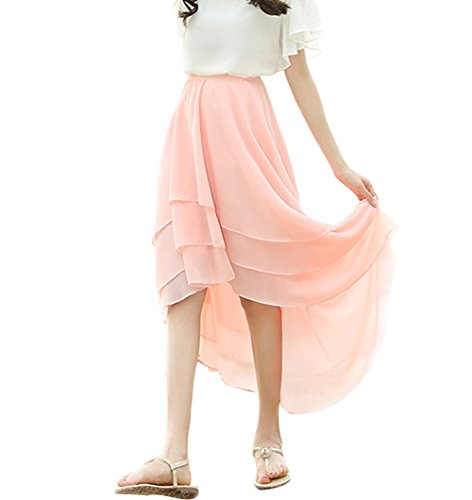 CoutureBridal® Damen Chiffon Rock 3 Layer Elastic Bund 60CM Pink