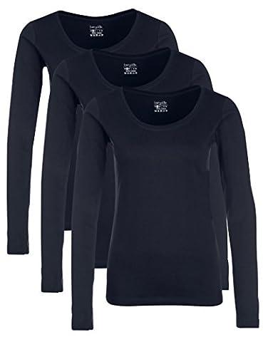 Berydale T-shirt à manches longues et col rond pour femme, lot de 3 dans différentes couleurs, Noir/Blanc/Gris, M