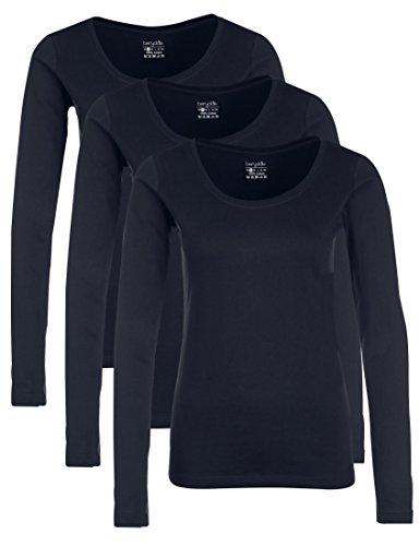 Berydale Damen für Sport & Freizeit, Rundhalsausschnitt Langarmshirt, 3er Pack, Blau (Dunkelblau), X-Small