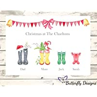 Personalised Watercolour Christmas Family Wellington Boots A4 PRINT (NO FRAME) Picture Design 2