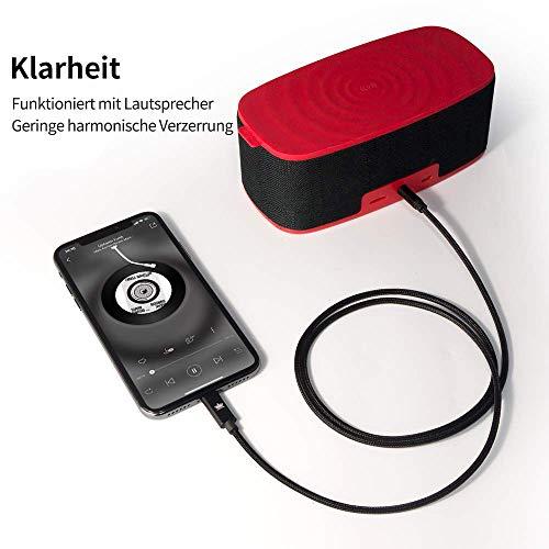 Auto AUX Kabel für iPhone, Kingone 3.5mm Aux Kabel auf iPhone 7/8 / X / 8 Plus/XS MAX/XR zum Autoradio/Lautsprecher/Kopfhörer-Adapter【Nylon geflochten, 3.3ft】 - 4