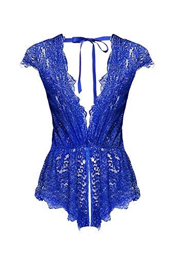 Aranmei Sexy Body Dessous Damen Reizwäsche Elasthan Bodysuit Spitze Strappy Unterwäsche V-Ausschnitt Lingerie