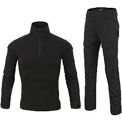 LANBAOSI Chemise de Combat Militaire Homme Uniforme Tactique Séchage Rapide à Manches Longues & Pantalon Costume Tenues de Combat Pantalon Militaire Paintball Noir x-Small