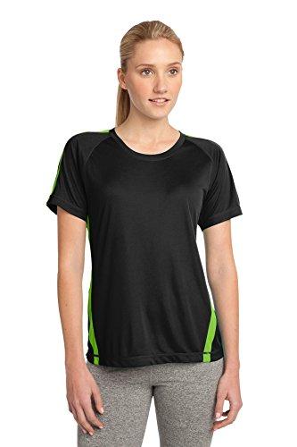 Sport-Tek Polo de Colorblock Competitor pour Femme Black/ Lime Shock